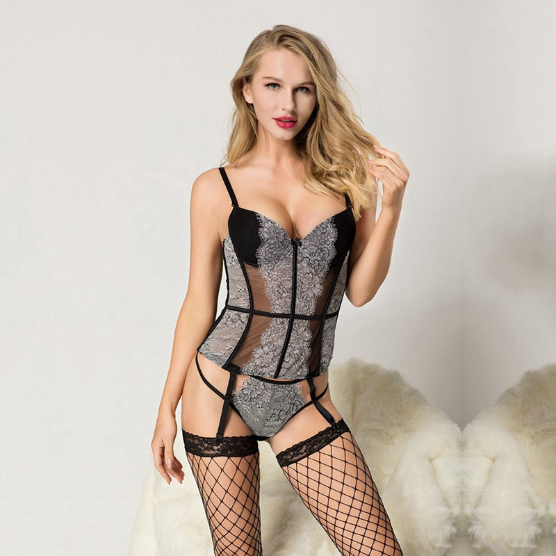 Transparent Sexy Corset and Bustier Girdle Set with Straps Belt Breathable Fabric High Elasticity Lingerie Free Size