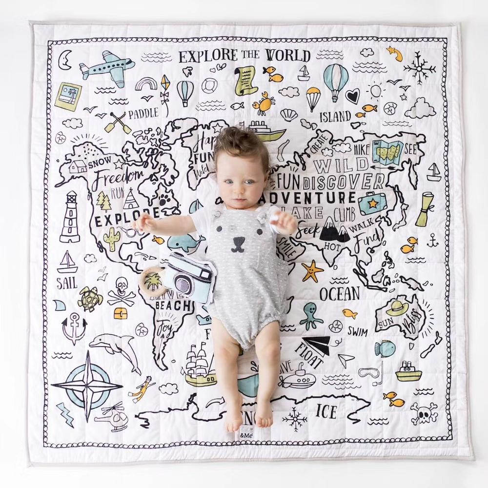 Large Cotton Kids Play Mat Padded Quilted Baby Crawling Blanket Pad Newborn Infant Play Rugs Children Room Playmat Square 120cm