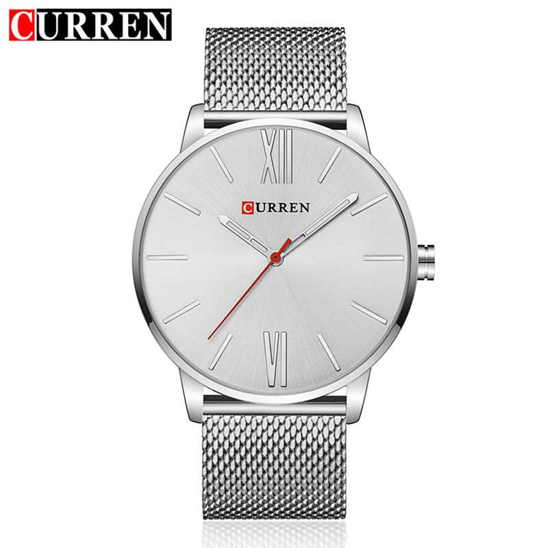 Curren Simple Men Quartz Watch Mesh Silver Black Gold Stainless Steel Band Fashion Sport Male Wristwatches with gift box 8238 paidu fashion unique brand black silver quartz metal mesh band wrist watch mens boy turntable dial digital gift wristwatches