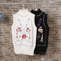 2017 Spring New Tide Personality Women's Folk Style Color Bird Flower Embroidery High Necked Sleeveless Sweater Q1110-6LJ