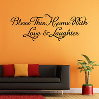 wall sticker Bless This Home Removable Art Vinyl Mural Home Room Decor Wall Stickers