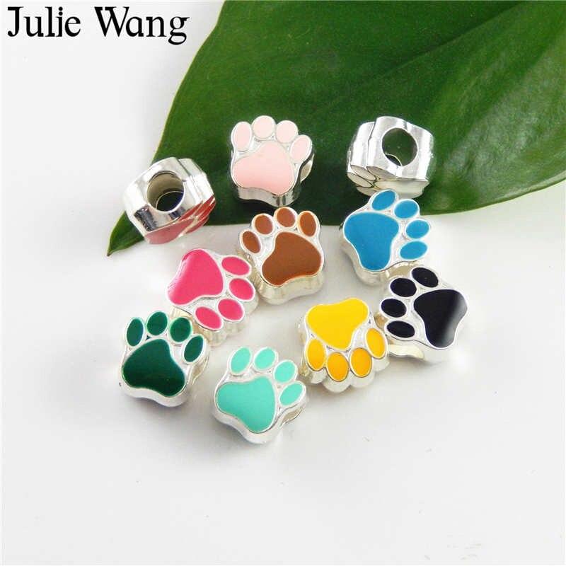 Julie Wang 40 шт. Смешанные 10 цветов эмалированная кошачья лапа фотоэлемент для европейских шармов браслет ювелирные изделия аксессуары