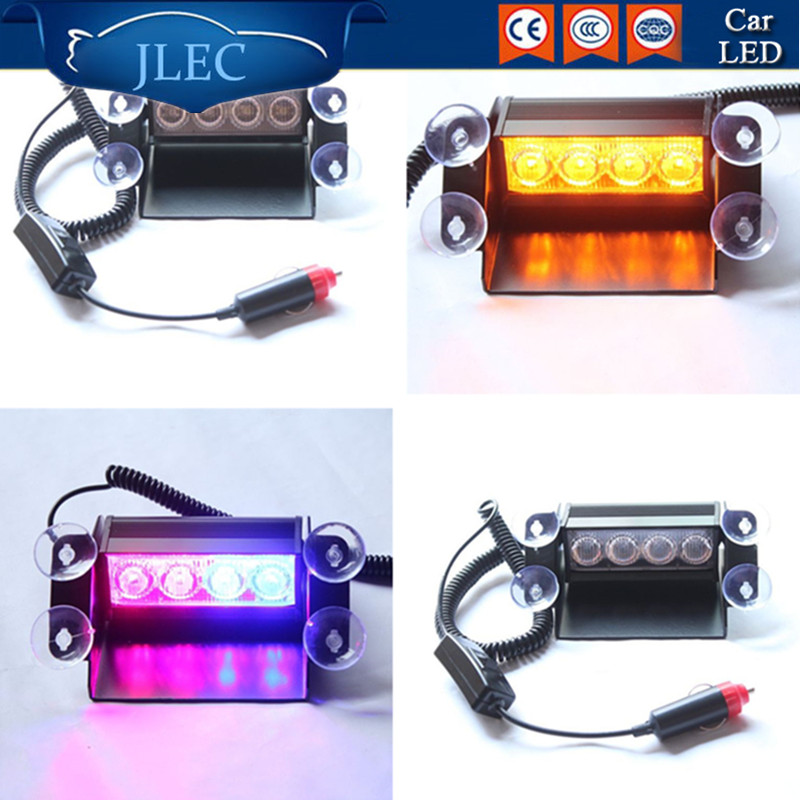 2017 Car-Styling 4 LED Strobe Flash Lights Car Window Lamp DRL Auto Police Dash Emergency Warning Flashing Daytime Running Light 4in1 daytime running light 12v 12w led car emergency strobe lights drl wireless remote control kit car accessories universal
