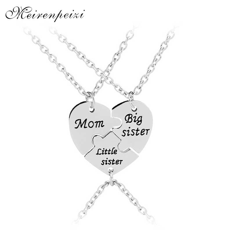 Moeder grote zus zusje Ketting Familie Sieraden Speciale Gift Voor Mama grote lil sis party gift Moeder Dag hart stiksels