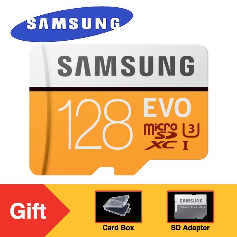 SAMSUNG EVO Micro SD Memory Card 128GB Class10 microSDXC U3 UHS-I TF Card 100MB/s HD for Smartphone Tablet with Adapter samsung microsd card 16gb 32gb 64gb 128gb 100mb s micro sd memory card tf flash card for phone class10 u3 sdhc sdxc free adapter