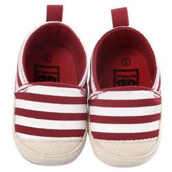 Romirus/милые Обувь для младенцев для маленьких девочек в полоску для мальчиков Обувь мягкая подошва Обувь для малышей Красный 0-6 м