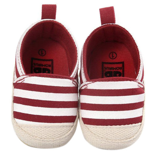 ROMIRUS Cute Baby Shoes Baby Girl Boy Striped Shoes Soft Sole First Walkers Red 0-6M