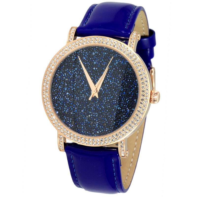 Brand Luxury Starry Women Full Crystals Dress Wrist watch Quartz Vogue Girls Big Size Watches Real Leather Analog Montre femme fabulous 2016 quicksand pattern leather band analog quartz vogue wrist watches 11 23