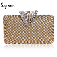 Luxury Diamond Gold Color Evening Bags Clutch Bag For Women Elegant Butterfly Decoration Lady Clutches For Wedding Party Purse