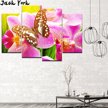 Canvas Painting Butterfly resting on the phalaenopsis 4 Pieces Wall Art Modular Wallpapers Poster Print Home Decor