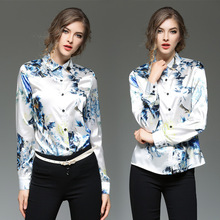 Women Tops 2017 New Blouse Shirts Fashion Loose Blue Long Sleeved Summer Slim Match Europe Beach Cover Up Flowers  Knitted Cool