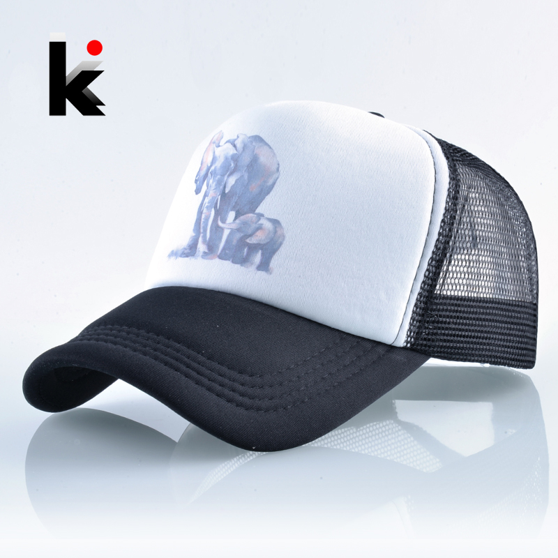Summer Mesh Baseball Cap Women Hip Hop Snapback Hat Men Print Elephant Casual Bone Mosculino Unisex Breathable Trucker Casquette