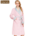 2017 Spring Brand Robes lovers Pajamas Women Soft Cotton Velvet Robes Couples Long Sleeve Robe Female striped Bathrobe Plus Size
