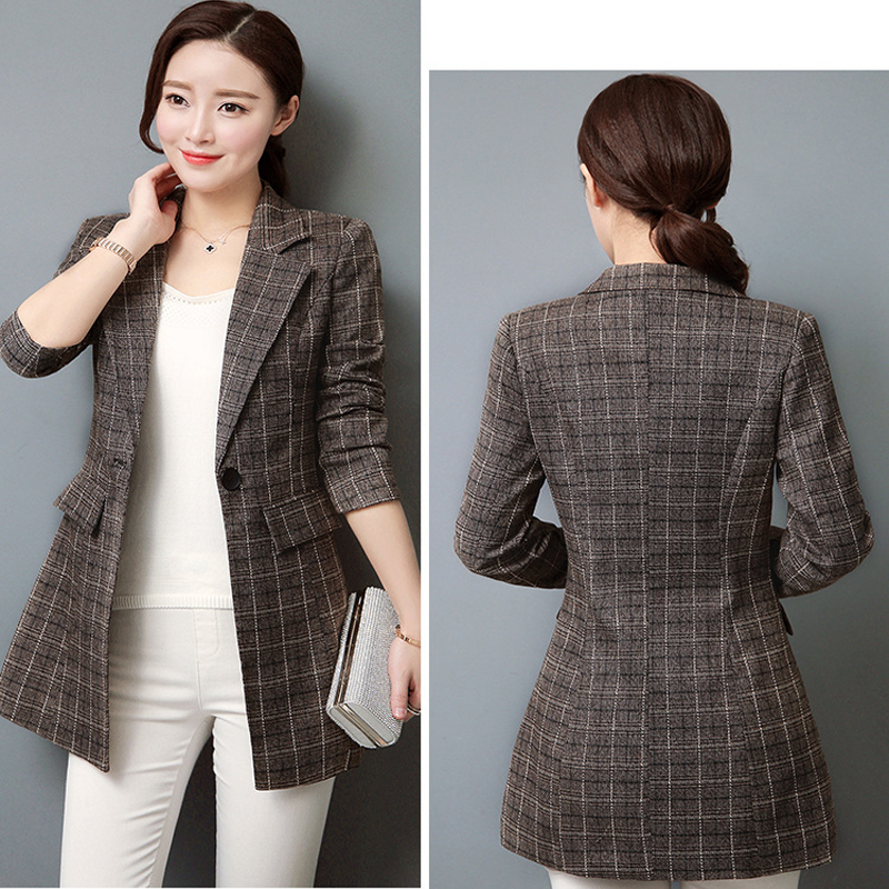 Plaid Women Y710 Suit 2019 Gray 3xl Women's Blazers Autumn Size Single coffee Long Jacket Botton Sleeve Blazer And Notched SwRwqO