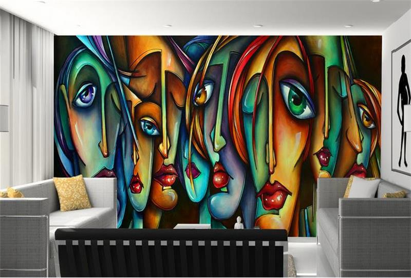 Black And White Wallpaper Living Room 3d Room Wallpaper Custom Hd Photo Mural Picasso Abstract