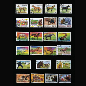 Image 3 - Caballo, 250 unids/lote todo el mundo sin utilizar con la marca postal sellos postales para recoger Timbres postaux