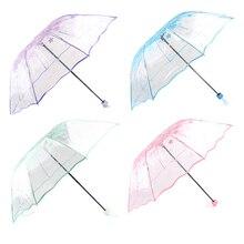Tri-fold Umbrella Female Transparent Cherry Mushroom Blossom Folding Windproof Half Automatic Foldable Green