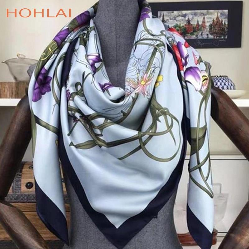 130*130cm Square 100% Twill Silk Scarf Bandana Women Shawls  Bufanda Large Floral Printed Scarves Stoles Scarf Kerchief Hijab