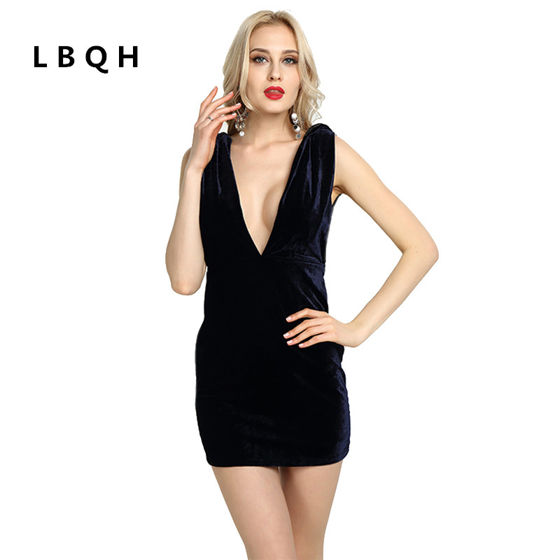 LBQH summer new ladies fashion sexy nightclubs pure color brand dresses high quality deep V collar halter knitted women's dress
