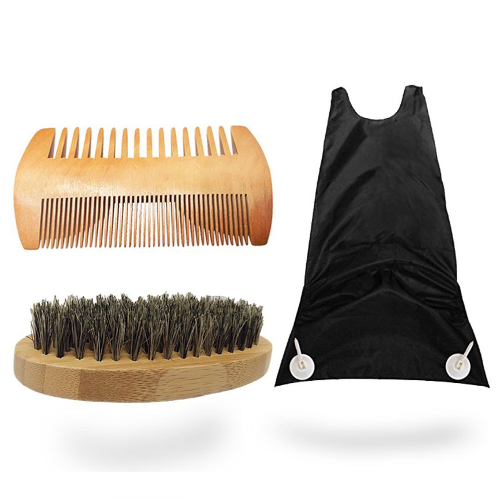 New Beard Grooming Kit Hair Trimming Catcher,Natural Boar Bristle Beard Brush and Handmade Comb