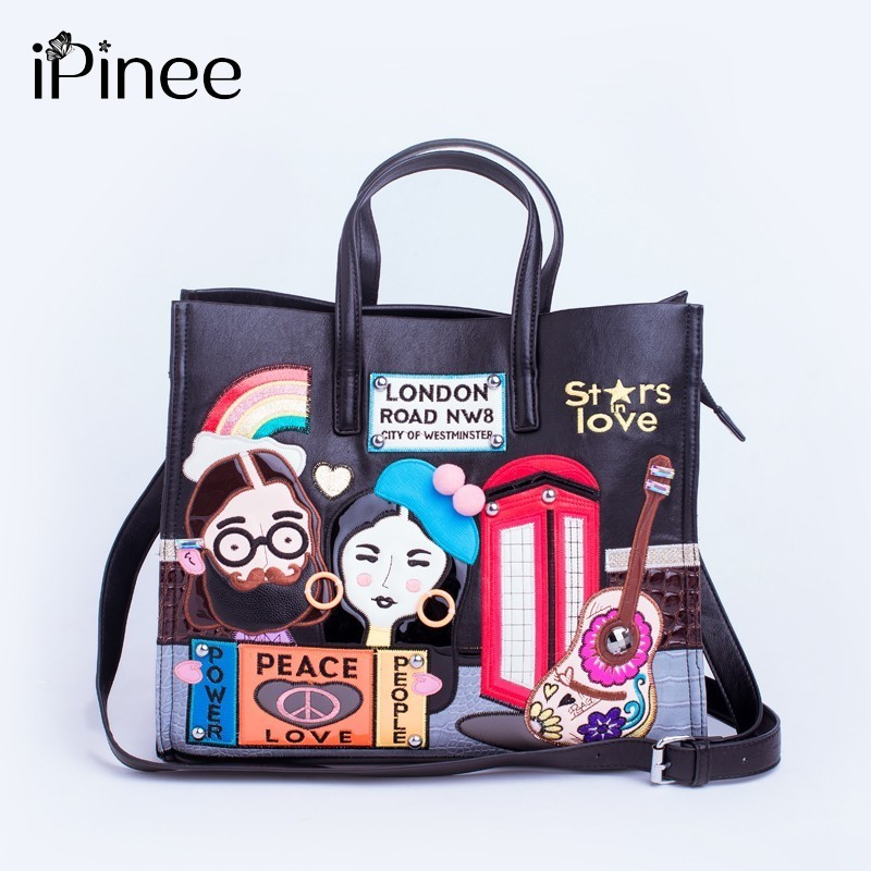 iPinee New 2019 Fashion Women Handbags Large Capacity Tote Bag Lady Embroidery Pu Leather Messenger bag