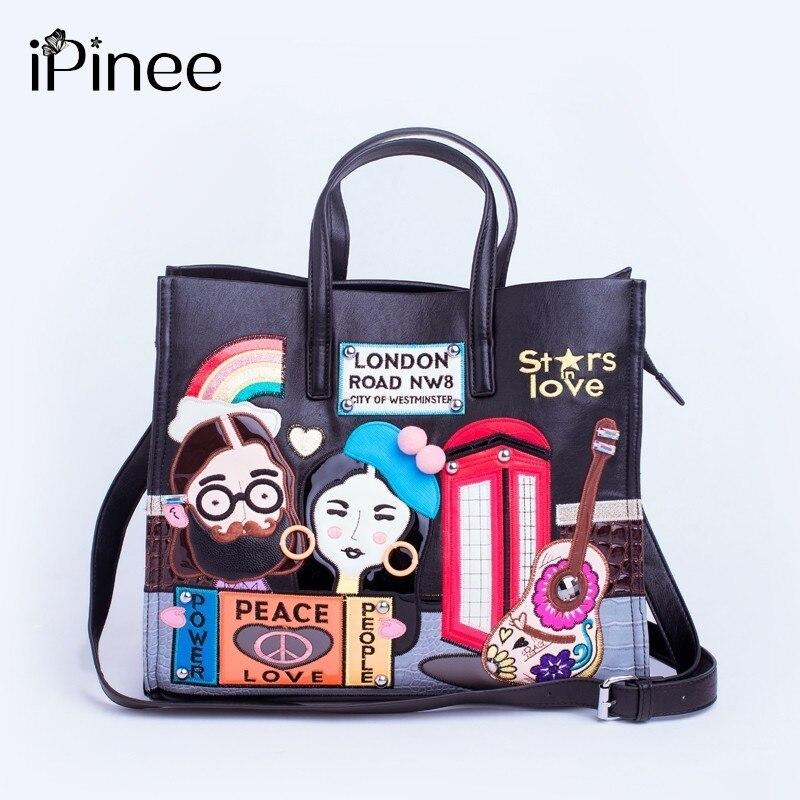 iPinee New 2018 Fashion Women Handbags Large Capacity Tote Bag Lady Embroidery Pu Leather Messenger bag Bolsos