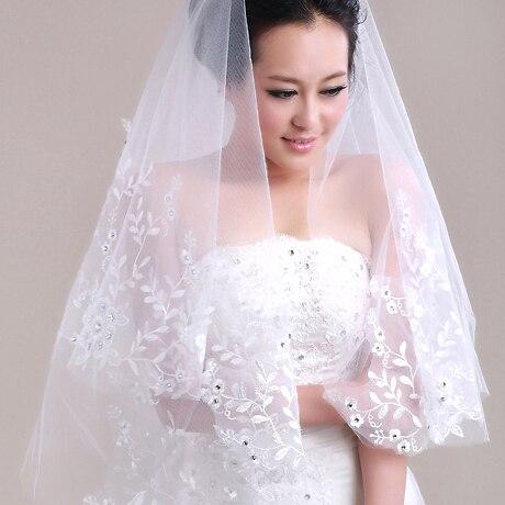 b9bad5f28 Color blanco de la novia vestido de boda rhinestone laciness velo de novia  velo corto