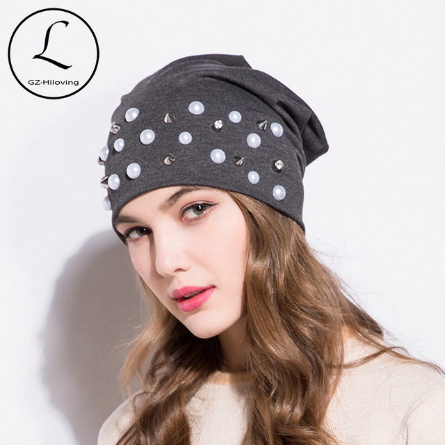 GZHILOVINGL Popular Pearl Diamond Hat Women Knit Slouchy Beanie Girls  Bonnet Skull Baggy Cotton Hats Gorro Feminino Inverno Cap f71635b3630