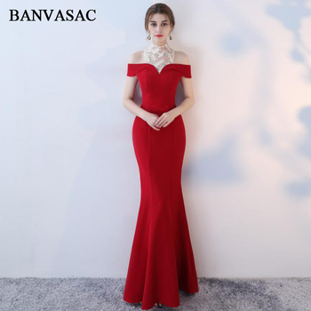 BANVASAC 2018 Lace Embroidery High Neck Satin Mermaid Long Evening Dresses Vintage Short Sleeve Party Prom Gowns