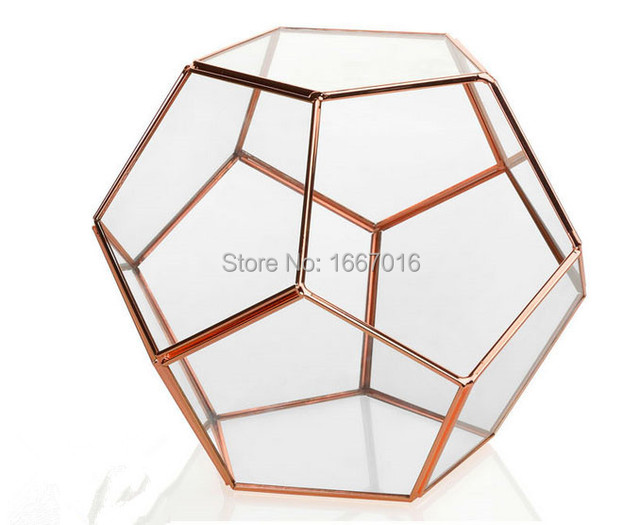 Retro Style Rose Gold Color Wedding Decoration Glass Flowerpots