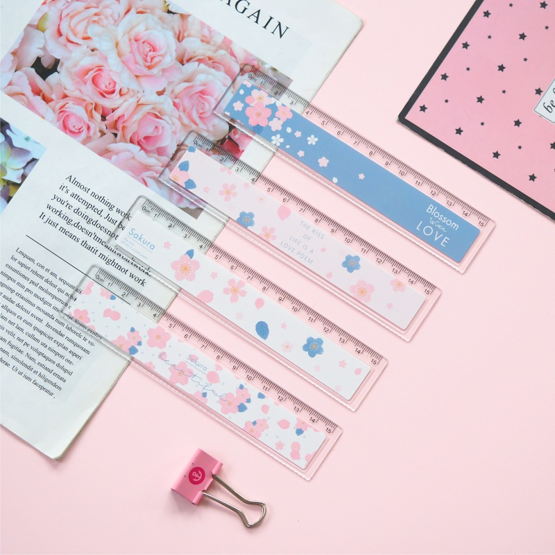 15 Cm Cherry Flower Wave Plastic Ruler Measuring Straight Ruler Tool Promotional Gift Stationery