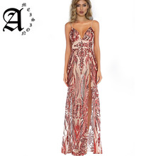 Ameision 2019 Women elegant maxi dresses floor length Deep V-Neck party dress sling evening gown formal sexy
