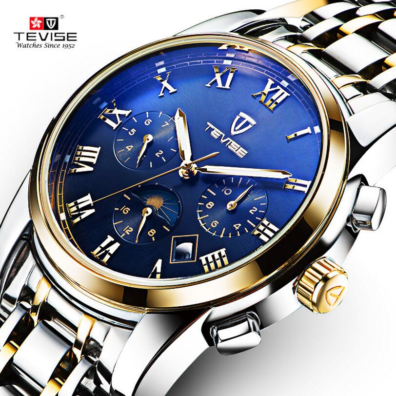 Orignal Tevise Fashion Montre Homme Men's Sapphire Day/Week MoonphaseAutomatic Mechanical Watches Gift Box Free Ship tevise fashion orologio uomo men s mult functional day week auto mechanical pu leather strap watches xmas gift box free ship