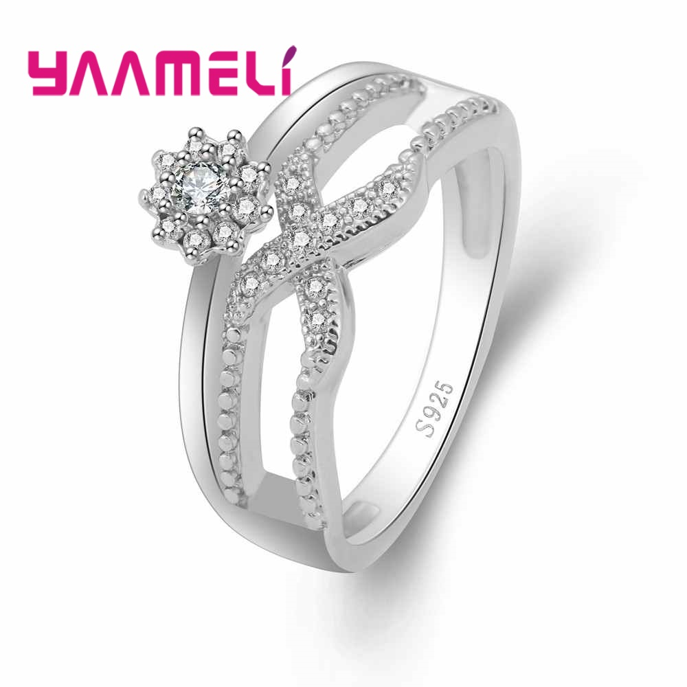 YAAMELI X Modeling Sports Style Crystal Flower Cubic Zirconia AAAA+ 925 Ring Sterling Silver For Women Best Suprise Gift