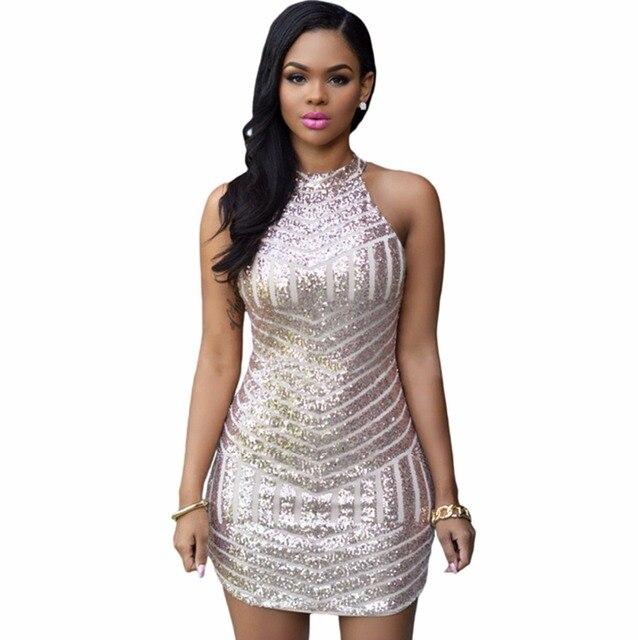 fee9a6a4c7cf 2016 New Style Summer Dress Women Sexy Club Dress Party Night Club Dress  Vestido short Gold Sequin Dress