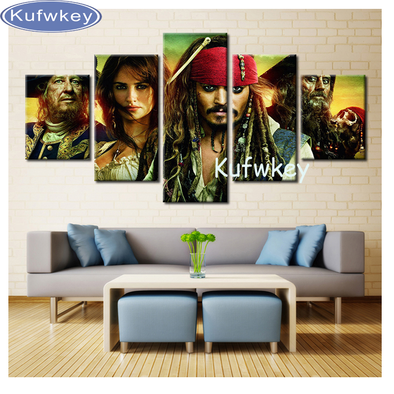 3D DIY Diamond Painting 5PCS Multi-Pictures Combination Caribbean Jack Sparrow Embroidery Mosaic Cross Stitch Home Decoration