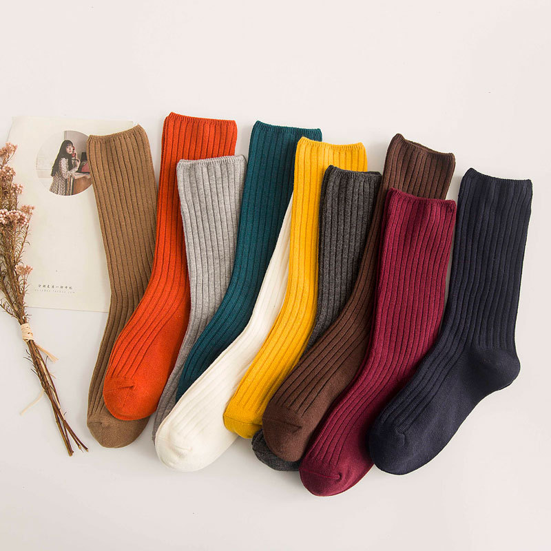 Japanese Casual Cotton   Socks   Warm Solid Knitting Long   Sock   For Women Men Winter Fall Girl Ladies Festival Gifts Accessories
