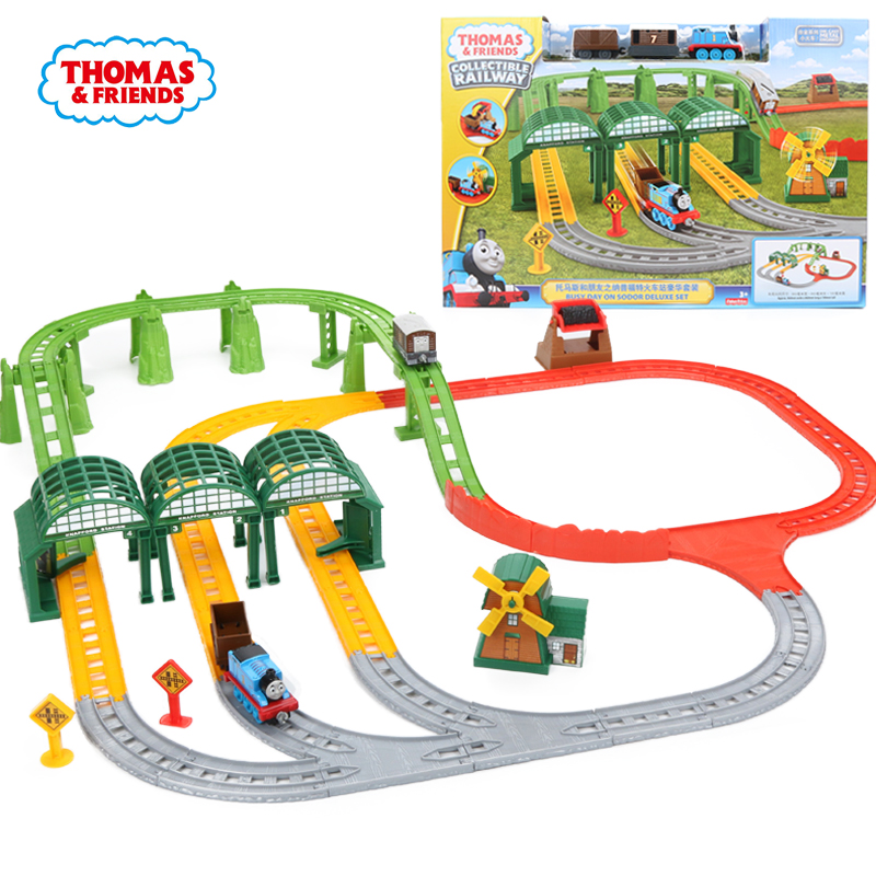 Thomas & Friends Collectible Railway Busy Day on Sodor Deluxe Set Diecast Metal Engines Playset Wooden Train Track Accessories