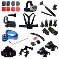 For GoPro Accessories Bike Handlebar Pole Mount+Head Strip+Chest Body Strap+Flat Mounts For GoPro Hero3 4 SJ4000 Xiaoyi