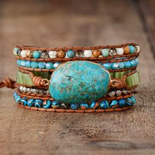 Punk Bracelets Women Wrap Bracelets Natural Stones 5 Layers Leather Cuff Bracelet Femme Bracelets Gifts Dropship(China)