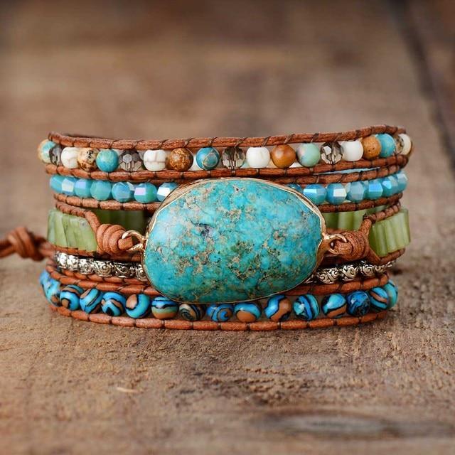 Punk Bracelets Women Wrap Bracelets Natural Stones 5 Layers Leather Cuff Bracelet Femme Bracelets Gifts Dropship