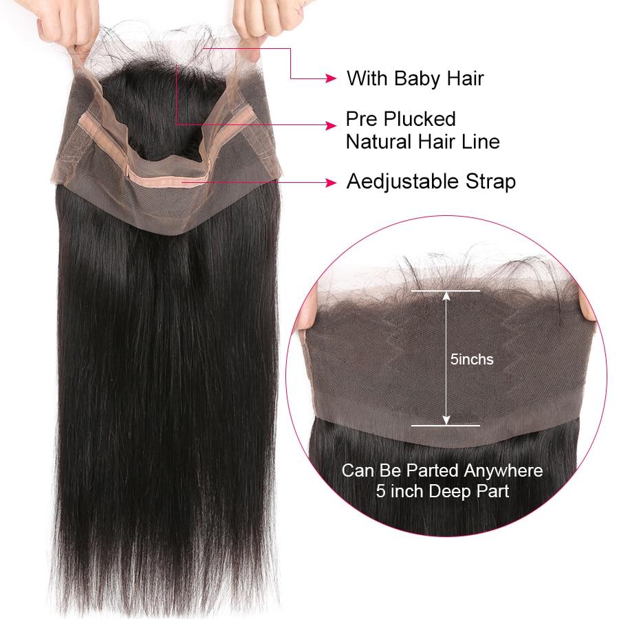 Mrekullia vajzë Para mbushur 360 dantella Mbyllje frontale me flokë - Flokët e njeriut (të zeza) - Foto 5
