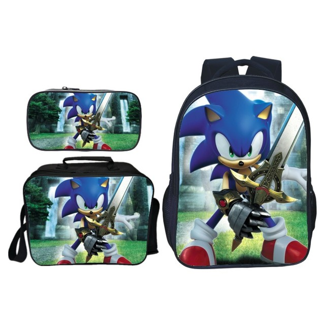 3pcs/set Cartoon Children Sonic Shadow Printing Backpack Kids School Bags Boys Girls Primary Schoolbag Students Suit Backpacks