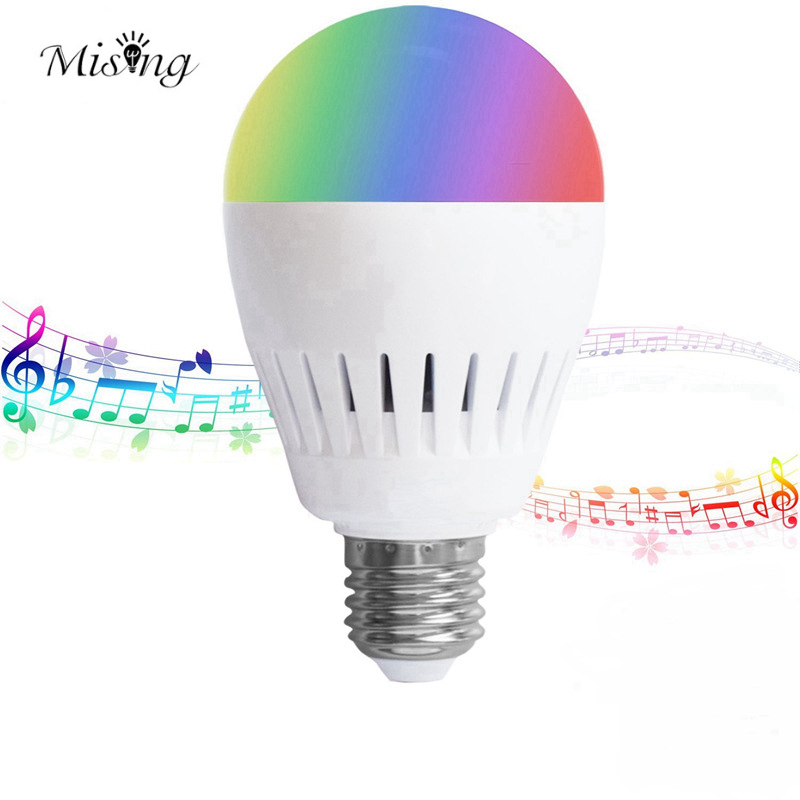 Mising 8W RGB+Warmwhite White Shade LED Smart Bulb With Music Bluetooth Speaker RGB Color Light Bulb Built AC100-240V smart bulb e27 7w led bulb energy saving lamp color changeable smart bulb led lighting for iphone android home bedroom lighitng