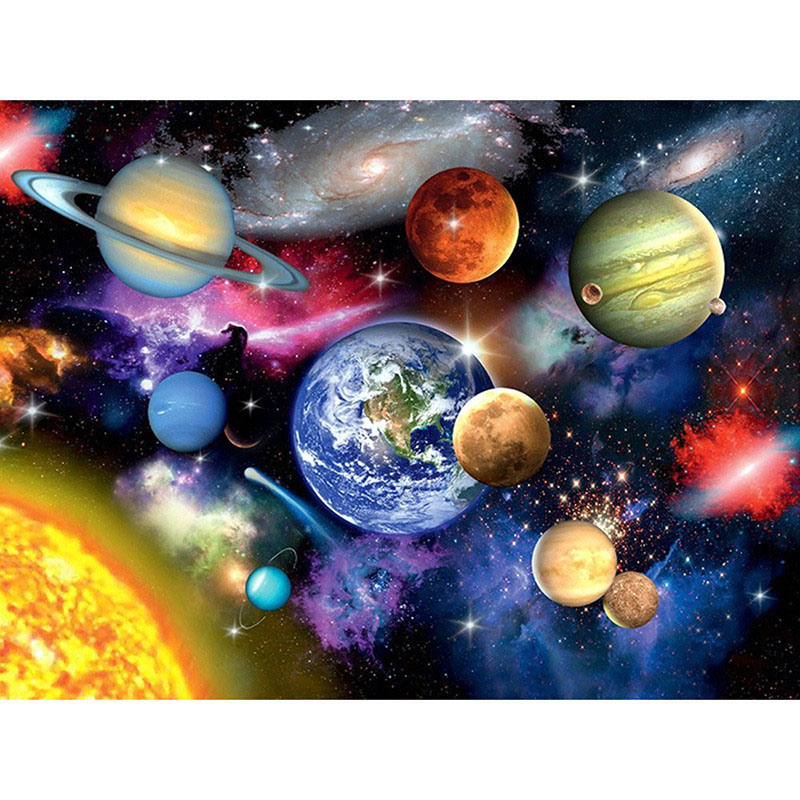 Quadrado completo/redondo diamante pintura ponto cruz a galáxia planetas paisagem 3d mosaico kits de diamante bordado casa decoração presente
