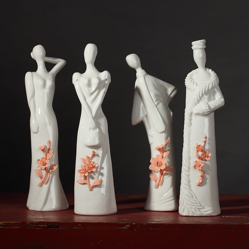 jade porcelain hand-knotted ceramic Cheongsam woman figure figurines home decor crafts new Chinese style wedding room decoration