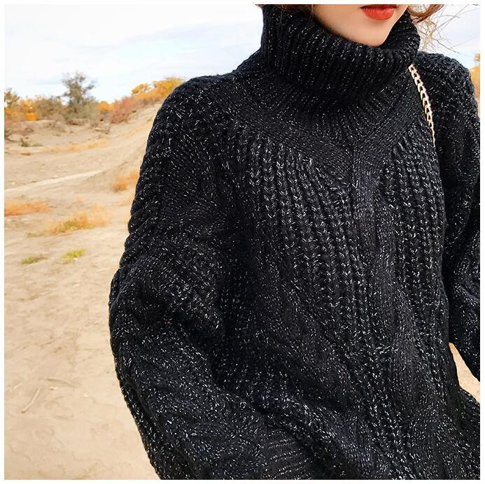 H.SA 2018 New Women Winter Turtleneck Sweater And Pullovers Warm Twisted Pull Jumpers Mohair Female Autumn Cashmere Sweater