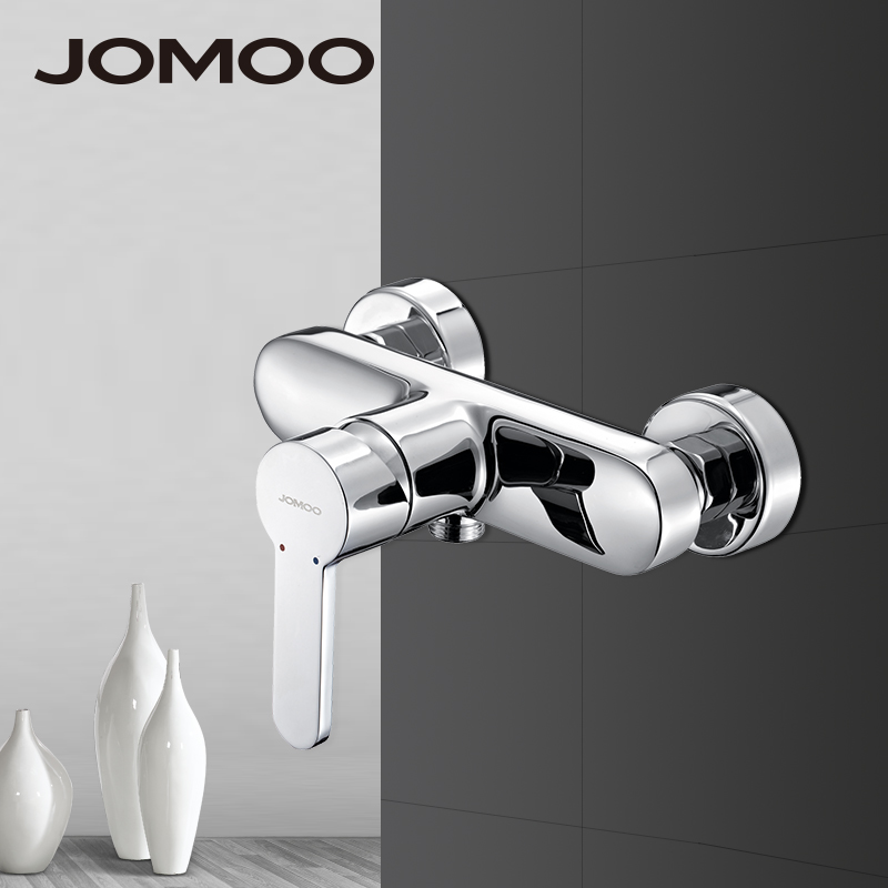 JOMOO Bathroom Shower Faucets Brass Material Polish Chrome Finish Single Handle Dual Holes Shower Mixer Bathroom Faucet traditional faucet chrome thermostatic bathroom faucets plastic handshower dual holes shower mixer tap