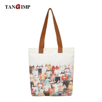 TANGIMP Cats Shoulder Bags Handbags For Women Lady Girls Cute Animal Zipper Shoulder Bag Casual Sac
