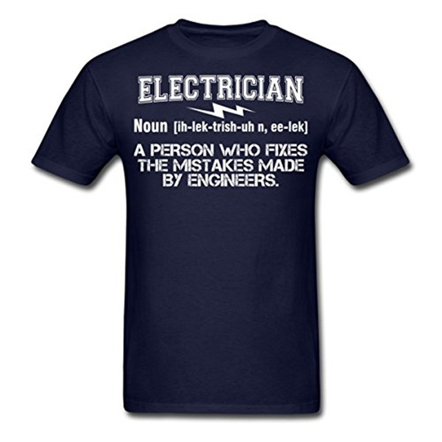 2016 Summer Style T Shirt Men Fashion Electrician Funny Definition Men's T-Shirt by Spreadshirt 100% Cotton Shirts